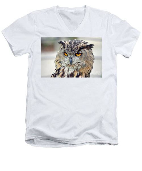 Men's V-Neck T-Shirt featuring the photograph Portrait Of A Great Horned Owl II by Jim Fitzpatrick