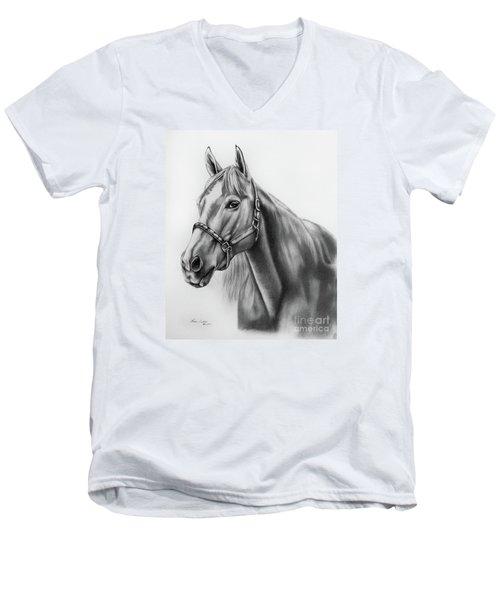 Portrait Of A Horse Men's V-Neck T-Shirt by Lena Auxier