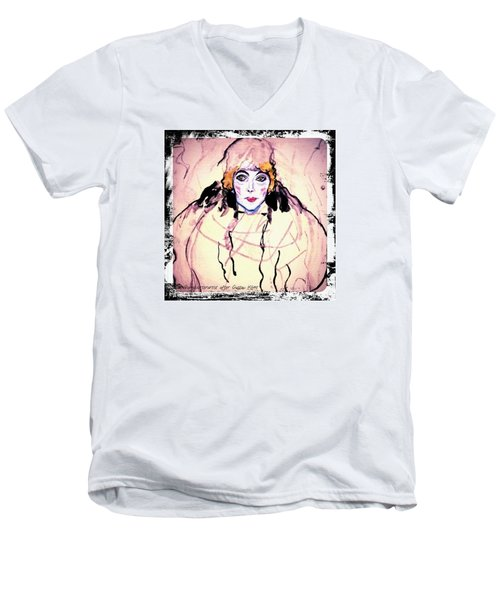 Portrait Of A Lady En Face After Gustav Klimt Men's V-Neck T-Shirt by Anna Porter