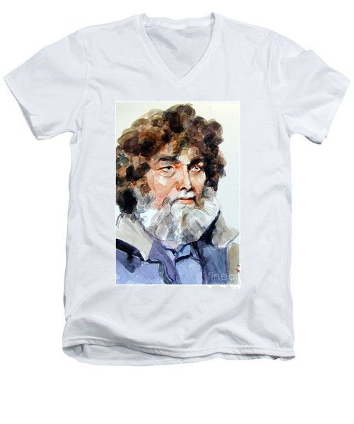 Watercolor Portrait Of A Sailor Men's V-Neck T-Shirt