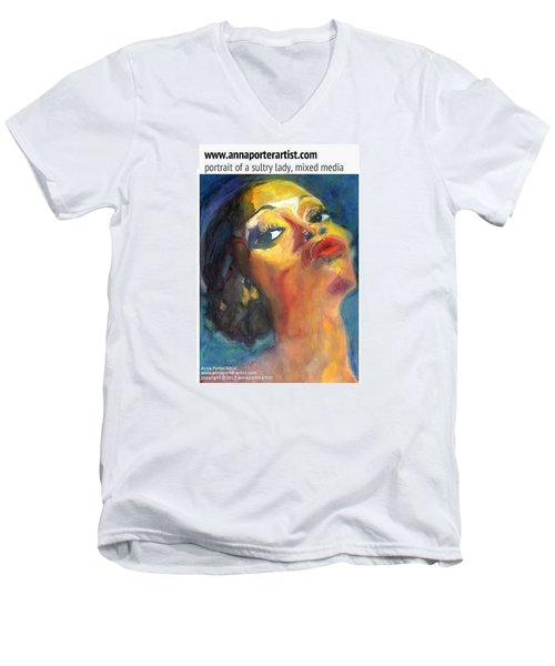 Portrait Of A Sultry Lady, Mixed Media Men's V-Neck T-Shirt