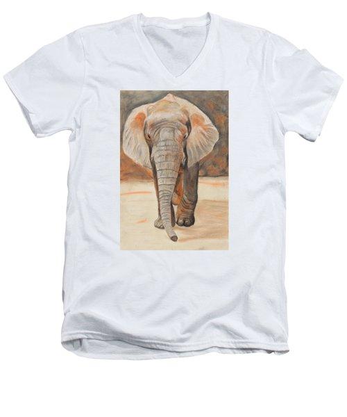 Portrait Of An Elephant Men's V-Neck T-Shirt by Jeanne Fischer