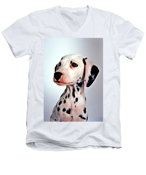 Portrait Of Dalmatian Dog Men's V-Neck T-Shirt by Lanjee Chee