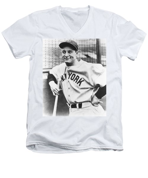 Portrait Of Lou Gehrig Men's V-Neck T-Shirt