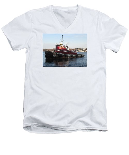 Portsmouth Harbor Tug Boat Winter Men's V-Neck T-Shirt