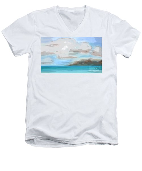 Posterized Landscape Alaska  Men's V-Neck T-Shirt