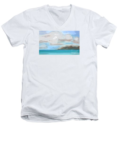 Posterized Landscape Alaska  Men's V-Neck T-Shirt