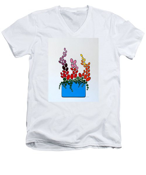 Potted Blooms - Blue Men's V-Neck T-Shirt by Thomas Gronowski