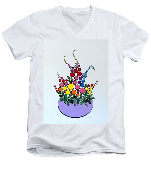 Potted Blooms - Lavendar Men's V-Neck T-Shirt