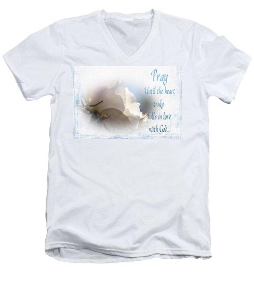 Men's V-Neck T-Shirt featuring the photograph Pray For Love by Jean OKeeffe Macro Abundance Art