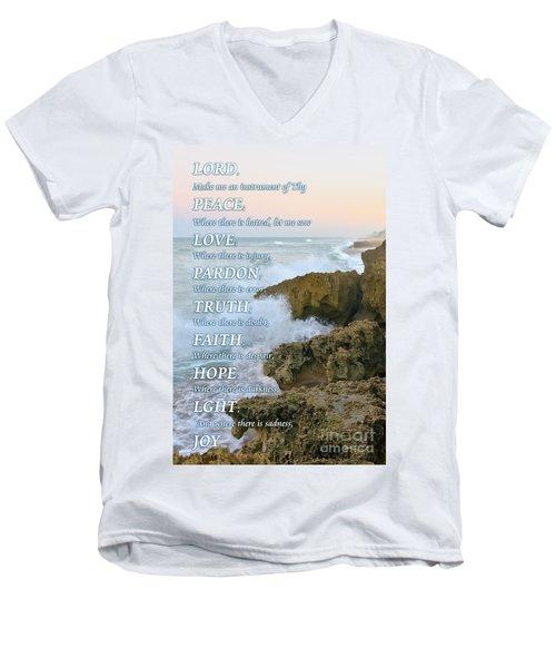 Prayer Of Saint Francis Men's V-Neck T-Shirt