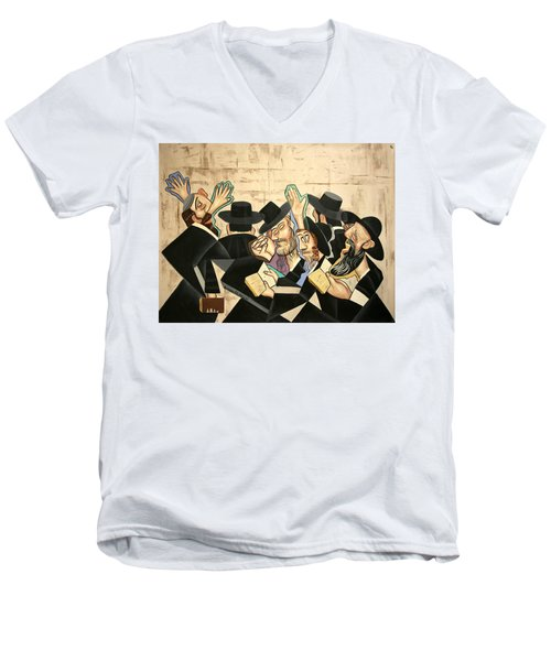 Praying Rabbis Men's V-Neck T-Shirt