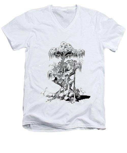 Ptactvo Men's V-Neck T-Shirt by Julio Lopez