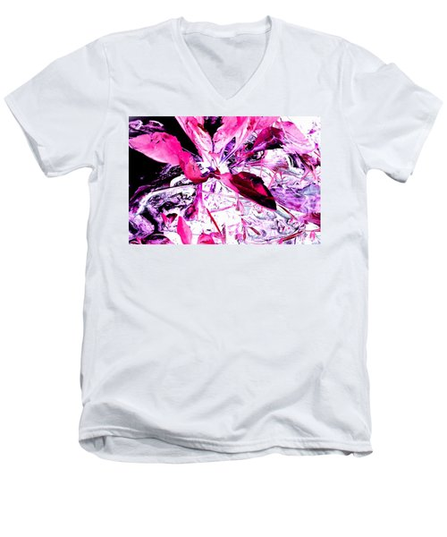 Pretty Pink Weeds 5 Men's V-Neck T-Shirt by Marianne Dow