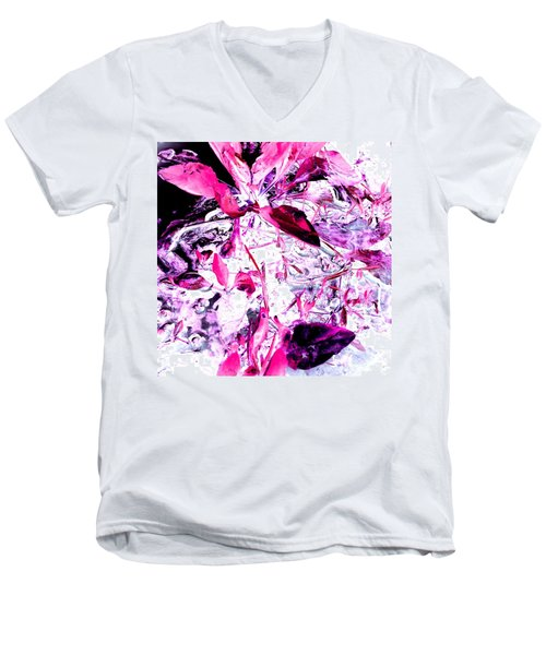 Pretty Pink Weeds 6 Men's V-Neck T-Shirt by Marianne Dow