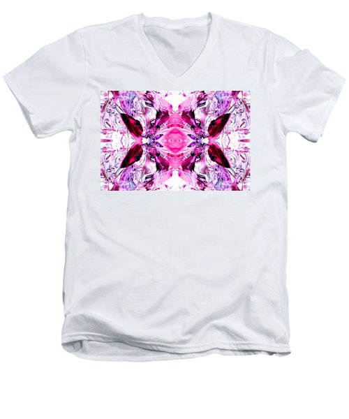 Pretty Pink Weeds Abstract  3 Men's V-Neck T-Shirt