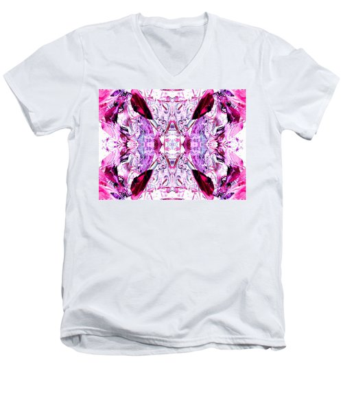 Pretty Pink Weeds Abstract  4 Men's V-Neck T-Shirt