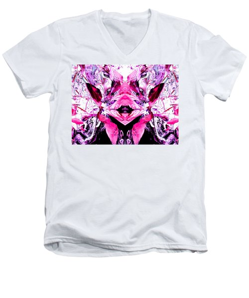 Pretty Pink Weeds Abstract  5 Men's V-Neck T-Shirt