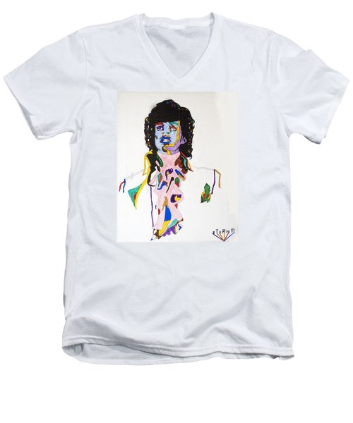 Men's V-Neck T-Shirt featuring the painting Prince Purple Reign by Stormm Bradshaw