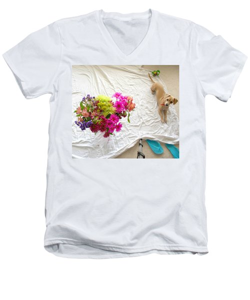 Men's V-Neck T-Shirt featuring the photograph Princess On Assignment by Angela J Wright