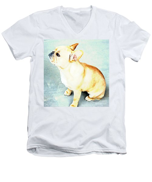 Men's V-Neck T-Shirt featuring the painting Profile In Frenchie by Barbara Chichester