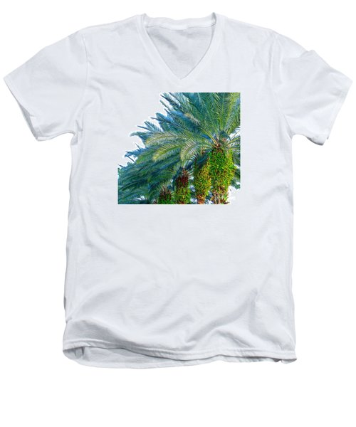 Men's V-Neck T-Shirt featuring the photograph Progression Of Palms by Joy Hardee