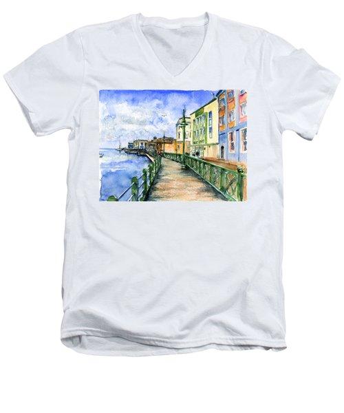 Promenade In Barbados Men's V-Neck T-Shirt by John D Benson