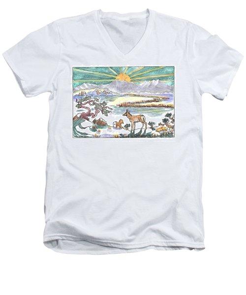 Pronghorn Winter Sunrise Men's V-Neck T-Shirt by Dawn Senior-Trask