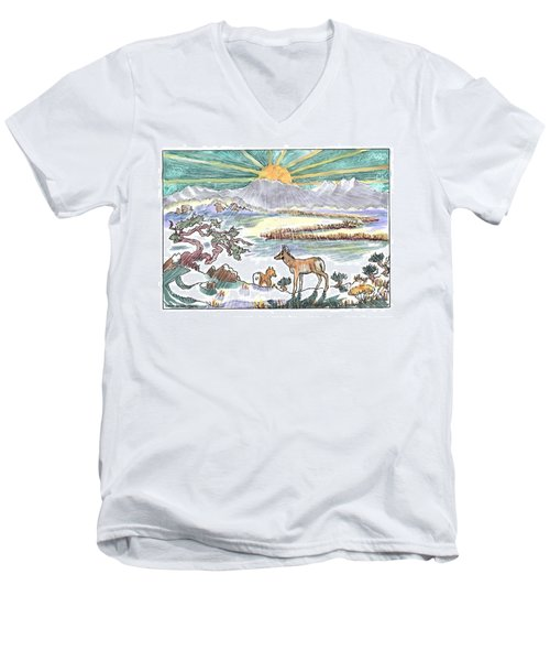 Pronghorn Winter Sunrise Men's V-Neck T-Shirt