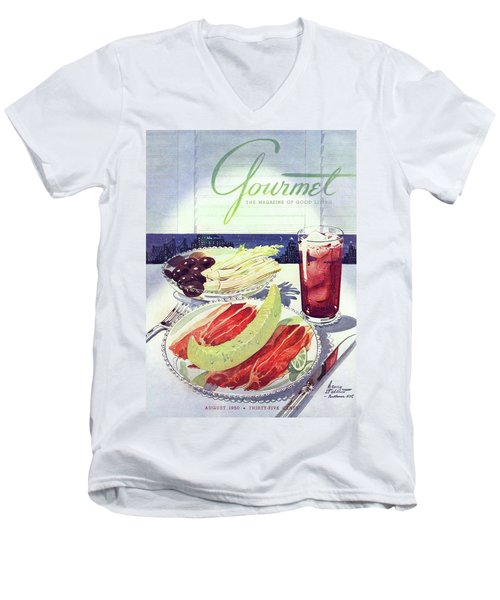 Prosciutto, Melon, Olives, Celery And A Glass Men's V-Neck T-Shirt