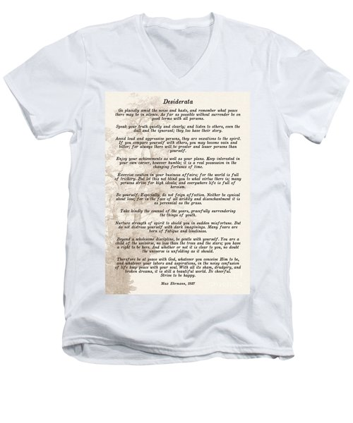 Prose Poem Desiderata By Max Ehrmann  Men's V-Neck T-Shirt by Olga Hamilton