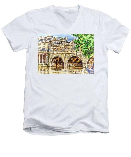 Pulteney Bridge Bath Men's V-Neck T-Shirt