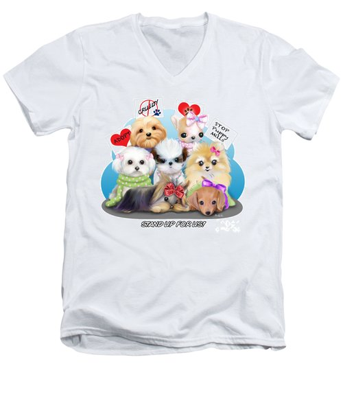 Puppies Manifesto Men's V-Neck T-Shirt by Catia Cho