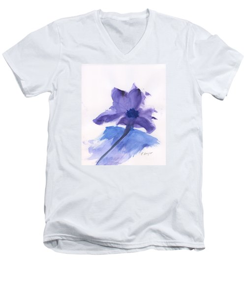Men's V-Neck T-Shirt featuring the painting Purple Flower by Frank Bright