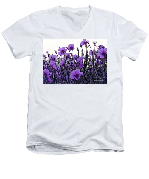 Men's V-Neck T-Shirt featuring the photograph Purple Flowers Dance by Jasna Gopic