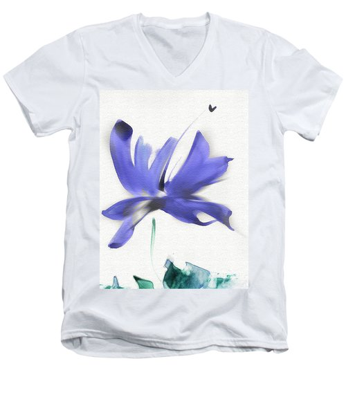 Men's V-Neck T-Shirt featuring the mixed media Purple Iris In The Greenery by Frank Bright