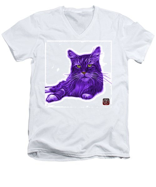 Purple Maine Coon Cat - 3926 - Wb Men's V-Neck T-Shirt