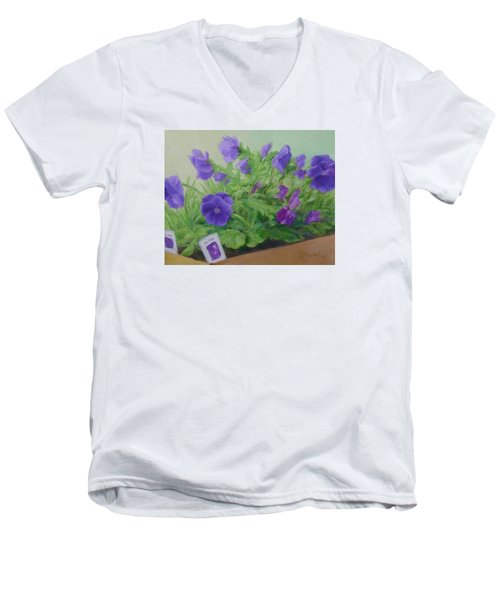 Purple Pansies Colorful Original Oil Painting Flower Garden Art  Men's V-Neck T-Shirt by Elizabeth Sawyer