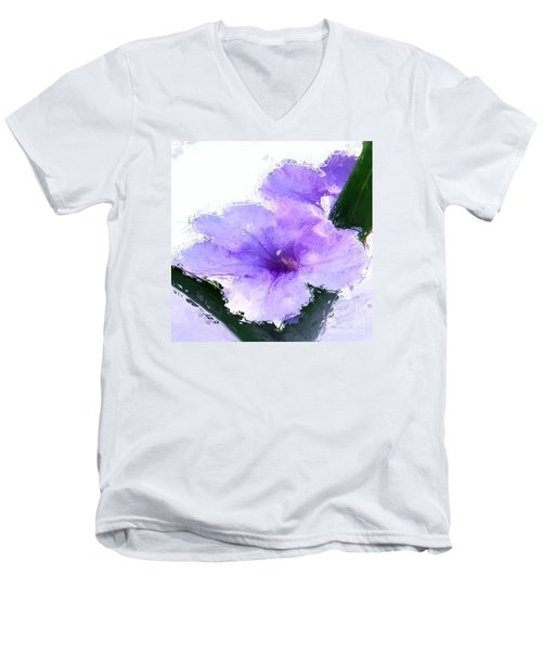 Men's V-Neck T-Shirt featuring the digital art Purple Petunia by Anthony Fishburne