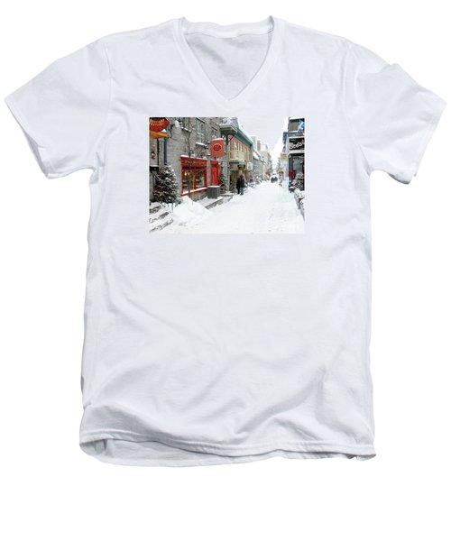 Quebec City In Winter Men's V-Neck T-Shirt by Thomas R Fletcher