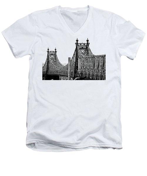 Queensborough Or 59th Street Bridge Men's V-Neck T-Shirt by Steve Archbold