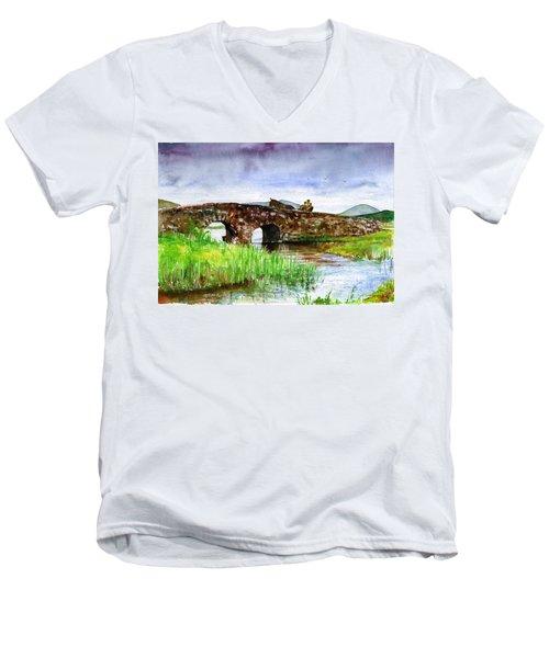 Quiet Man Bridge Ireland Men's V-Neck T-Shirt by John D Benson