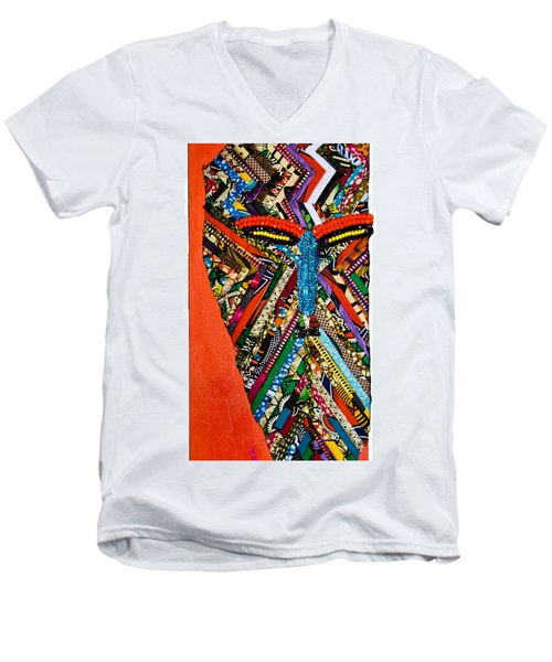 Quilted Warrior Men's V-Neck T-Shirt by Apanaki Temitayo M