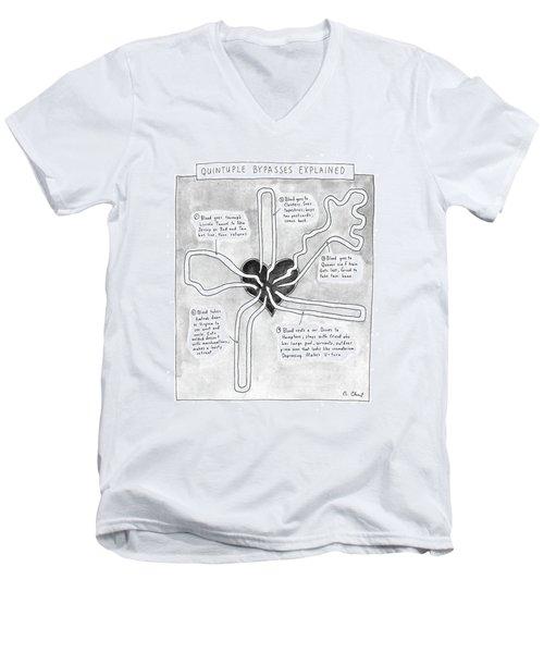 Quintuple Bypasses Explained Men's V-Neck T-Shirt