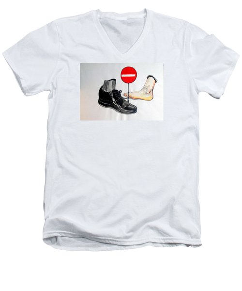 Men's V-Neck T-Shirt featuring the painting Quo Vadis by Lazaro Hurtado
