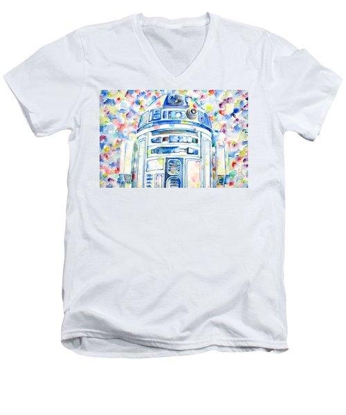 R2-d2 Watercolor Portrait.1 Men's V-Neck T-Shirt by Fabrizio Cassetta