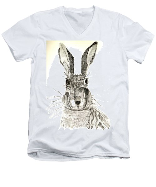 Men's V-Neck T-Shirt featuring the drawing Rabbit by Sandy McIntire