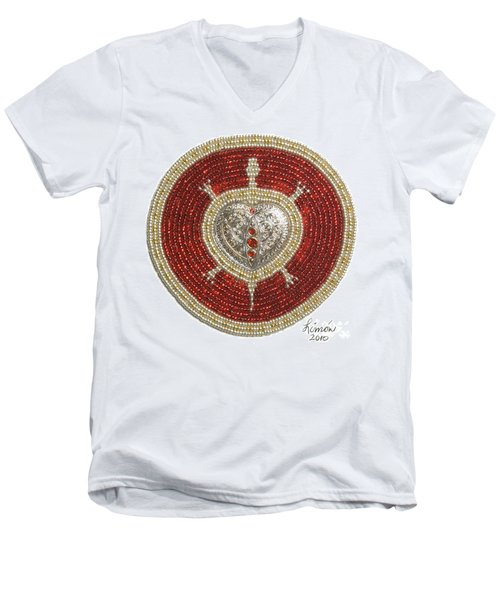 Silver And Gold Heart Turtle Men's V-Neck T-Shirt