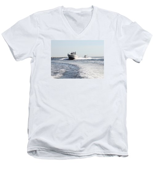 Racing To The Docks Men's V-Neck T-Shirt by John Telfer