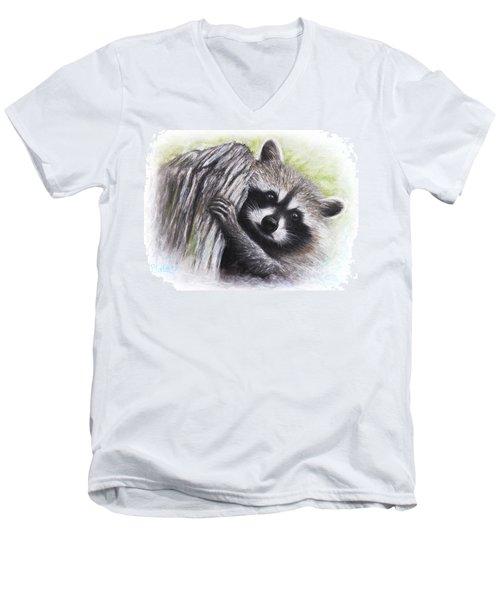 Raccoon  Men's V-Neck T-Shirt by Patricia Lintner